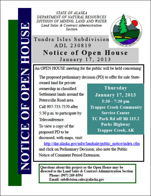 ADL invitation for Open House about Tundra Isles on January 17th, 2013